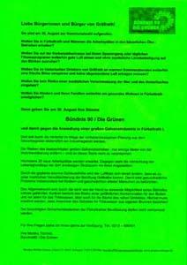 Wahlkampf Flyer der Grünen